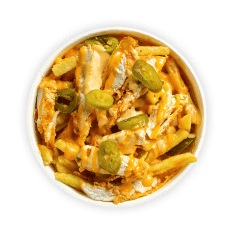 Chicken and Cheese Fries - Succulent chicken strips & fries topped with cheese sauce, jalapeños & our 'Signature Classic' sauce.