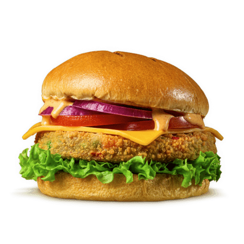 The Veggie Burger Classic - Handmade fresh veg patty with fried crispy coating.
